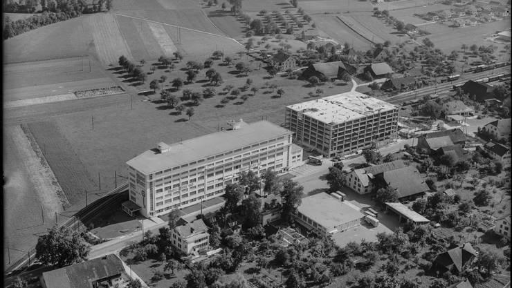 Tiefgeflogen Möbel Pfister Suhr, Historische Aufnahmen. Dieses Bild ist aus dem Jahr 1951. Fotograf:  Friedli, Werner