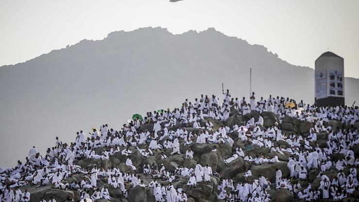 Muslimische Gläubige beten während der Pilgerfahrt Hadsch auf dem Berg Arafat bei Mekka.