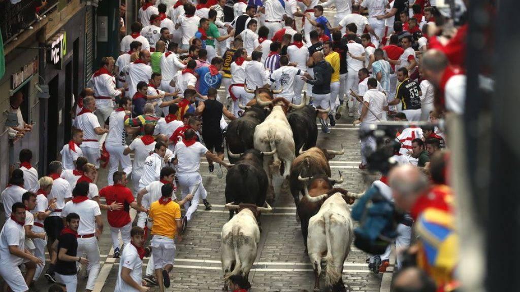 Das zweitletzte Stiertreiben in Pamplona war das bisher Schnellste, weil gleich die Stiere die Führung übernahmen. Erneut wurden fünf Personen verletzt.