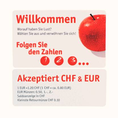 Am Selecta-Automaten bei den AZ Medien in Aarau ist 1 Euro 1.20 Franken wert.