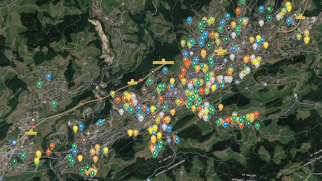Karte: Hier wohnen die Möchtegern-Parlamentarier in St.Gallen