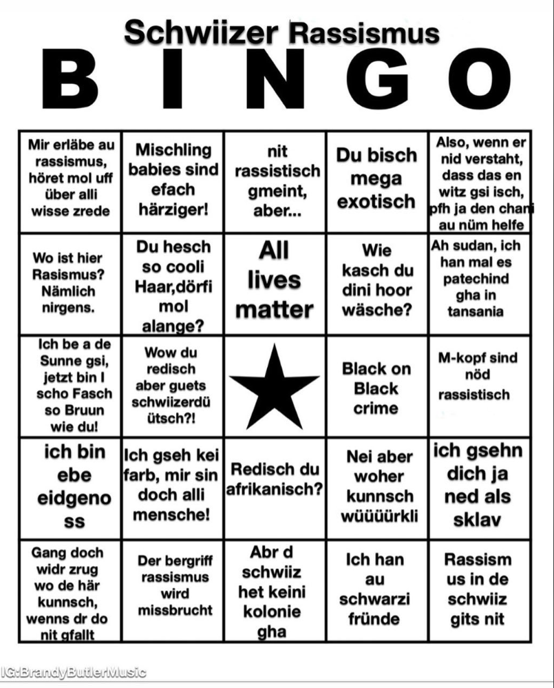 Schweizer Rassismus-Bingo Brandy Butler