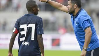 Nervosität pur: FCZ-Trainer Uli Forte mit seinem Captain Gilles Yapi