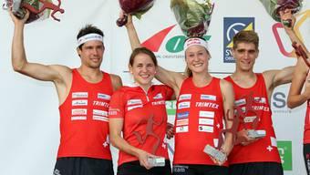 Martin Hubmann, Rahel Friederich, Judith Wyder und Florian Howald holen Silber für die Schweiz.