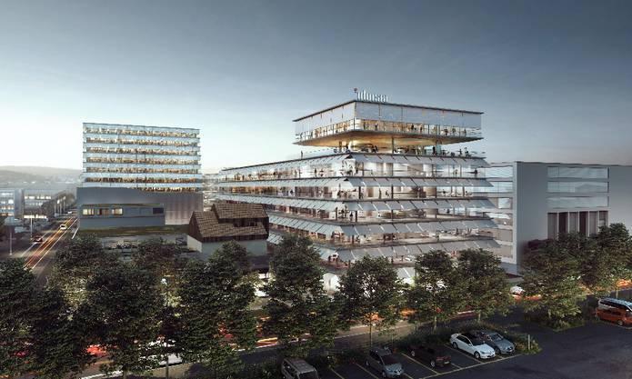 Mit zusätzlichen Stockwerken wird auch Idorsia die maximale Höhe von 40 Metern erreichen. Das neue Unternehmen des Ehepaar Clozel schafft damit Platz für bis zu 1000 neue Mitarbeiter. Der Entwurf stammt erneut von Herzog & de Meuron.