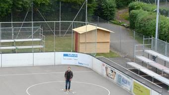 Die Black Panthers aus Zofingen um Vizepräsident Noah Weyermann haben für die Cup-Final-Spiele extra Tribünen aufgestellt.