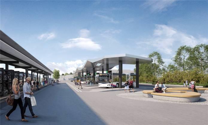 So soll der Bahnhofplatz Wohlen samt Bushof und unterirdischer Tiefgarage ab Anfang 2021 aussehen.