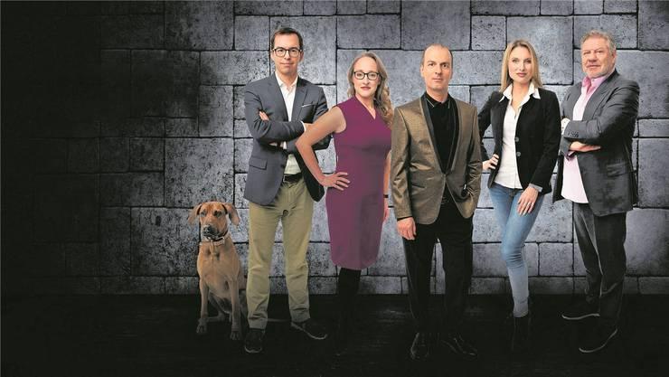 Rolan Brack (Mitte) mit den anderen «Löwen» aus der TV-Sendung «Die Höle der Löwen». (Bild: zvg)