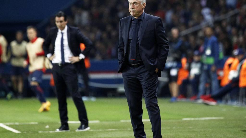 Carlo Ancelotti während des Spiels zwischen Paris Saint-Germain und Bayern München.