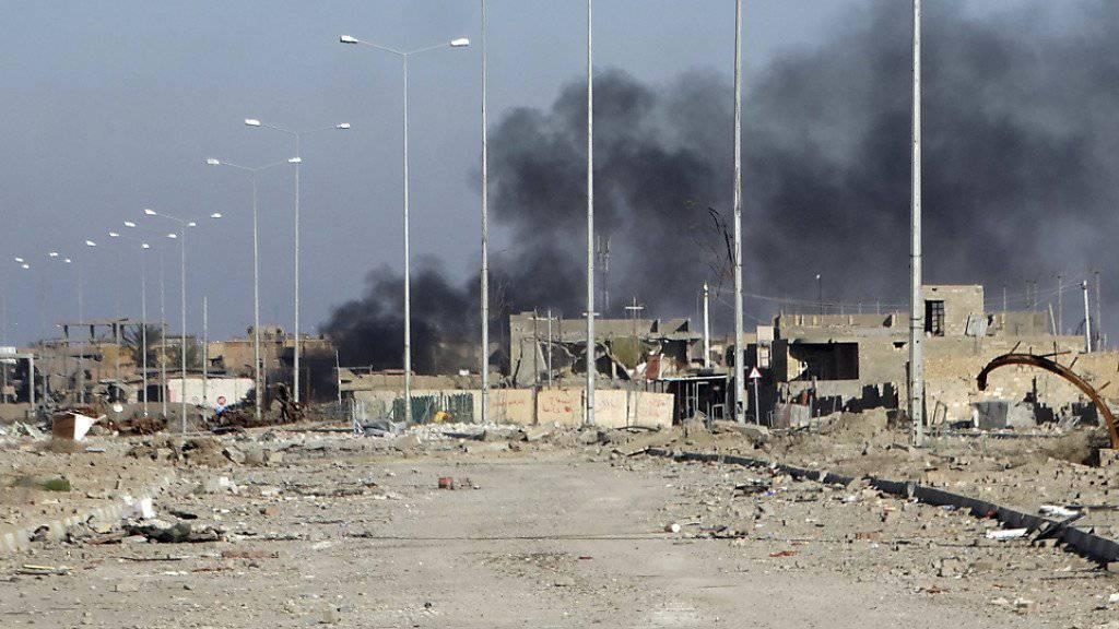 Rauch steigt über IS-Stellungen in der irakischen Stadt Ramadi auf. Die irakische Armee eroberte die Stadt von der Dschihadistenmiliz zurück.