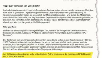 Damit Leserbriefe die «gewünschte Wirkung» erzielen: Ausriss aus den Vorlagen, die irrtümlicherweise an die Redaktion der «Nordwestschweiz« geschickt wurden. HO
