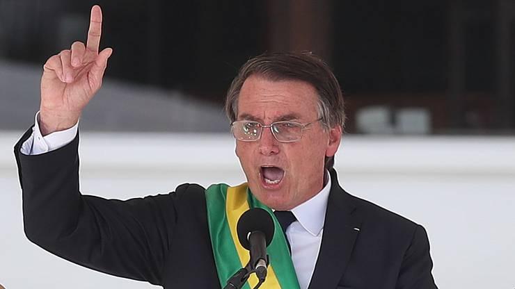 Jair Bolsonaro bei seiner Rede, in der er einen radikalen Neuanfang ankündigt.
