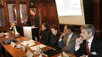 Die Basler Regierung anno 2007 – nur noch Eva Herzog (Mitte) sitzt noch in der Exekutive