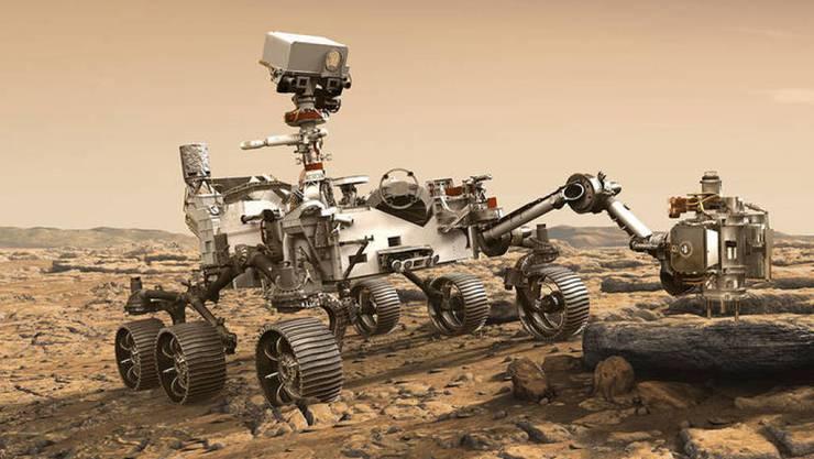 """Nasa-Illustration: Der Rover Perseverance untersucht einen Mars-Stein. Ab 17. Juli gilt's ernst, dann startet """"Duchhaltevermögen"""" als 5. Mars-Rover Richtung Roter Planet. (NASA/JPL-Caltech)"""