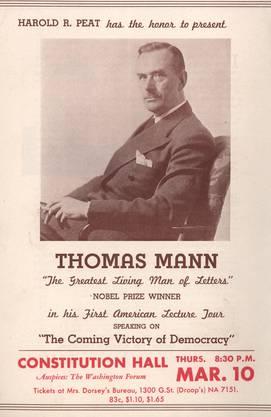 Ankündigung zu Thomas Manns Auftritt im Rahmen der ersten Vortragstournee, 10.3.1938.