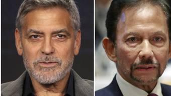 US-Schauspieler George Clooney (links) ruft in aller Deutlichkeit zum Boykott gegen die Luxus-Hotels des Sultans von Brunei (rechts) auf.