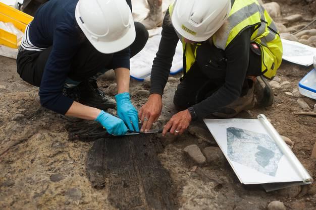 Bergung des verkohlten Fassdeckels, der bei den hochmittelalterlichen Holzgebäuden gefunden wurde.