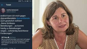 Den Tweet habe Martina Bernasconi bereits eine halbe Stunde nach der Veröffentlichung gelöscht.