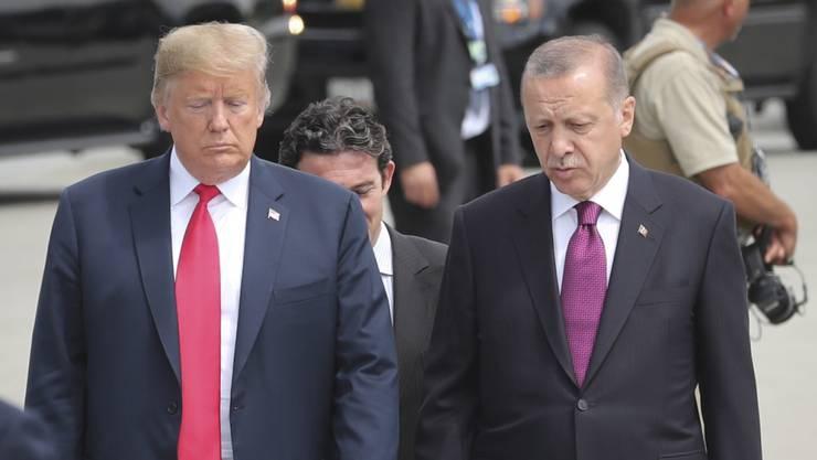 US-Präsident Donald Trump (links) soll dem Präsidenten der Türkei, Recep Tayyip Erdogan (rechts), keine Auslieferung des Predigers Fethullah Gülen versprochen haben. (Archivbild)