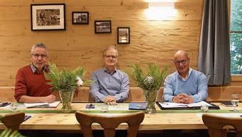 Adrian Meyer (Regie), Jörg Meier (Autor) und Pius Schöpfer (Produktionsleitung, von links) haben beim Hägglinger Freilichttheater 2022 namens «Roduner & Co.» die Federführung.