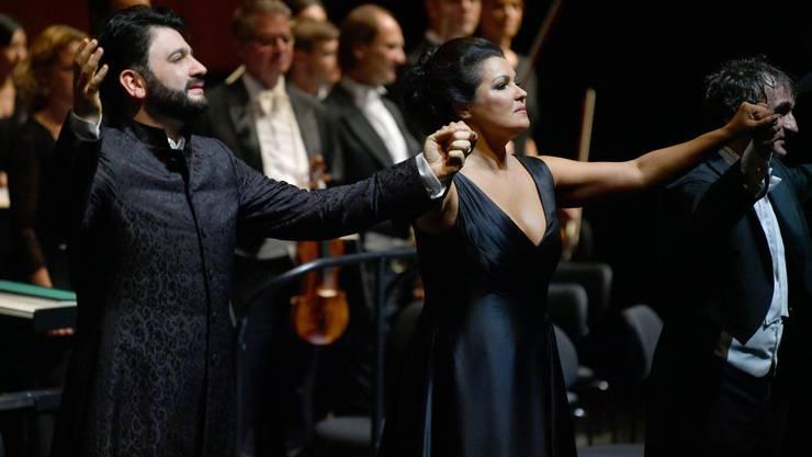 Anna Netrebko mit ihrem Mann Yusif Eyvazov in Salzburg.