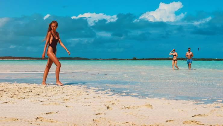 Paradiese, die kommen und gehen - die traumhaft schöne Sandbank in der Nähe der Exumas-Inseln wird bald wieder vom Wasser überspült sein.