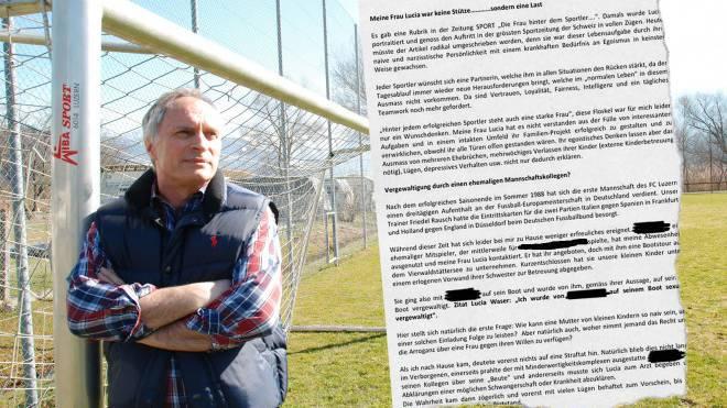 Der ehemalige FCL-Torhüter Godi Waser schildert in seinem Buch die angebliche Vergewaltigung (r.). Foto: Andreas Bättig, Ausriss