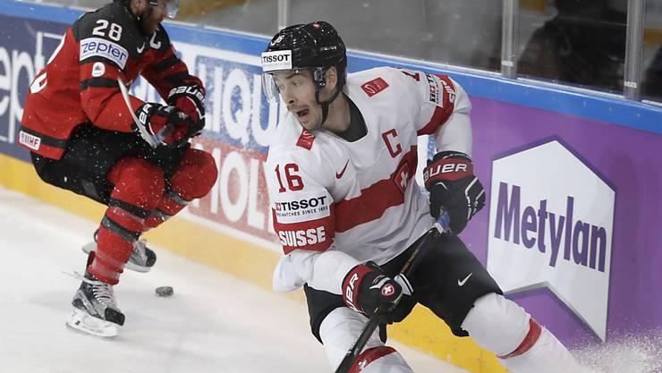 Raphael Diaz, im Bild während des Spiels gegen Kanada, zeigte sich in der Zwischenbilanz nach der Vorrunde zufrieden