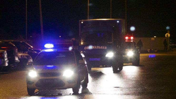 Der Transporter des russischen Katastrophenschutzes war am frühen Dienstagmorgen in der russischen Stadt gelandet.