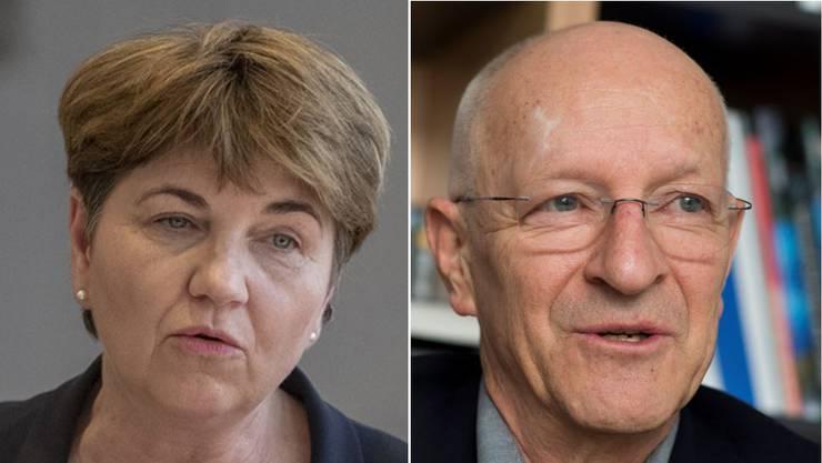 Bundesrätin Viola Amherd und der ehemalige Astronaut und VBS-Berater Claude Nicollier.