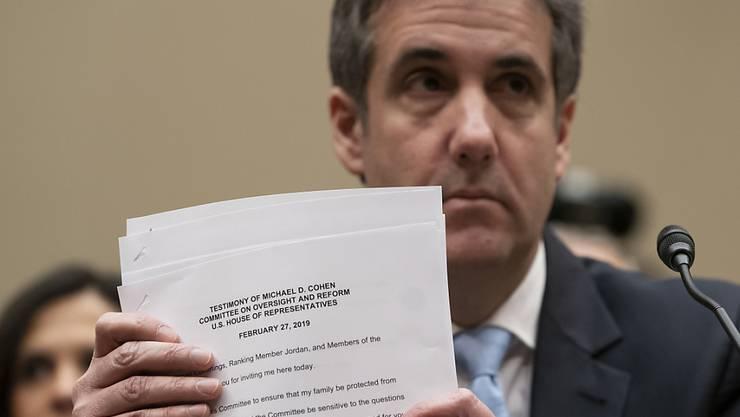 Michael Cohen, der frühere Anwalt von US-Präsident Donald Trump, nach dem Verlesen seines Eröffnungsstatements.