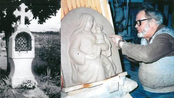 Links: Das zweite Heilige Stöckli (1791). Rechts: Hans Borer (1924–2002) bei der Erstellung des neuen Reliefs 1995.