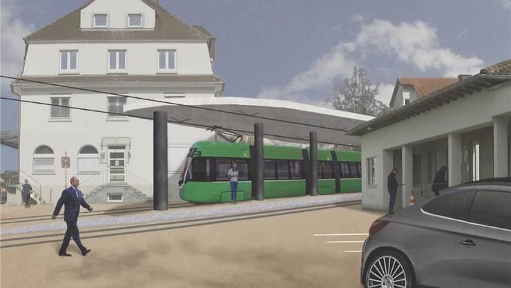 Visualisierung der Mobilitätsdrehscheibe Zoll/Lörrach-Riehen der IBA Basel 2020.