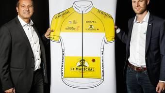 Richard Chassot (links), der Direktor der Tour de Romandie, bei der Präsentation der Rundfahrt von 2019