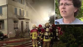 Unter anderem ein Kind musste die Feuerwehr aus dem mittlerweile vollständig ausgebrannten Mehrfamilienhaus retten.