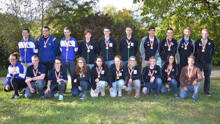 Die teilnehmenden Junioren am Verbandsmatch in Schwadernau.