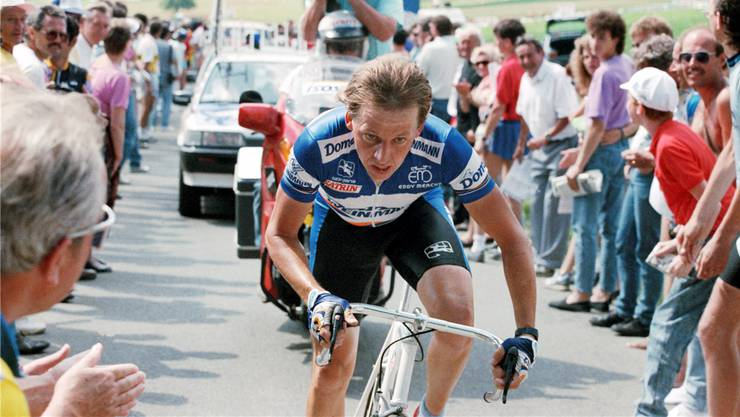 Radrennfahrer Beat Breu an der Tour de Suisse 1989.