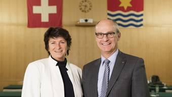 An der Wettinger Einwohneratssitzung vom 14. Dezember 2017 wurden Vizeammann Antoinette Eckert und Gemeinderat Daniel Huser verabschiedet.