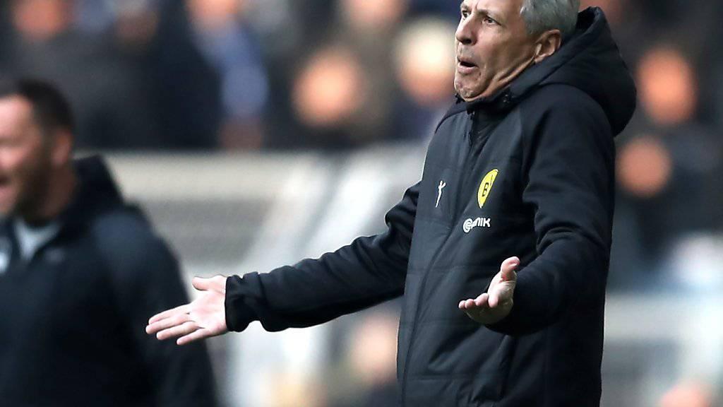 Lucien Favre ist gegen Hertha Berlin nicht immer voll zufrieden