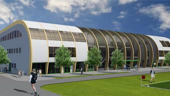 So soll die neue Ballsporthalle in Olten aussehen.