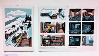 Ausschnitt aus dem ausgestellten Bild zum Comic «Schneefall» (Bader/Andres).