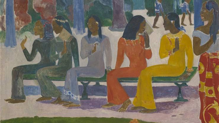 Paul Gauguin: Ta matete (Der Markt) aus dem Jahr 1892, Öl auf Jute, 73,2×91,5 cm, Geschenk von Robert von Hirsch, 1941.