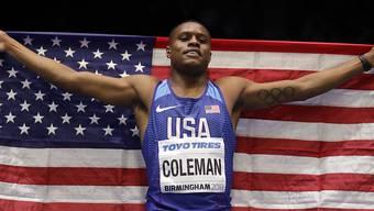 Christian Coleman wurde in Birmingham seiner Favoritenrolle gerecht und holte über 60 m Gold