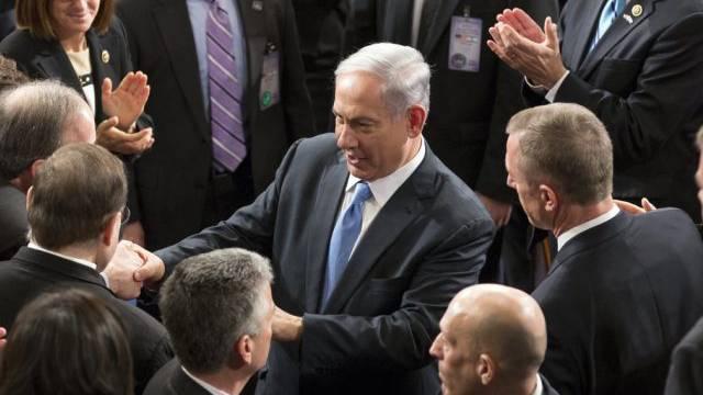 Benjamin Netanjahu nach seiner Rede im US-Kongress