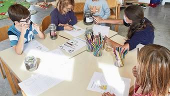 Die Kinder der Privatschule in Wislikofen haben sich eine Woche lang mit dem Thema «Wasser» beschäftigt. Lio ist begeistert über die Holzbauklötze.