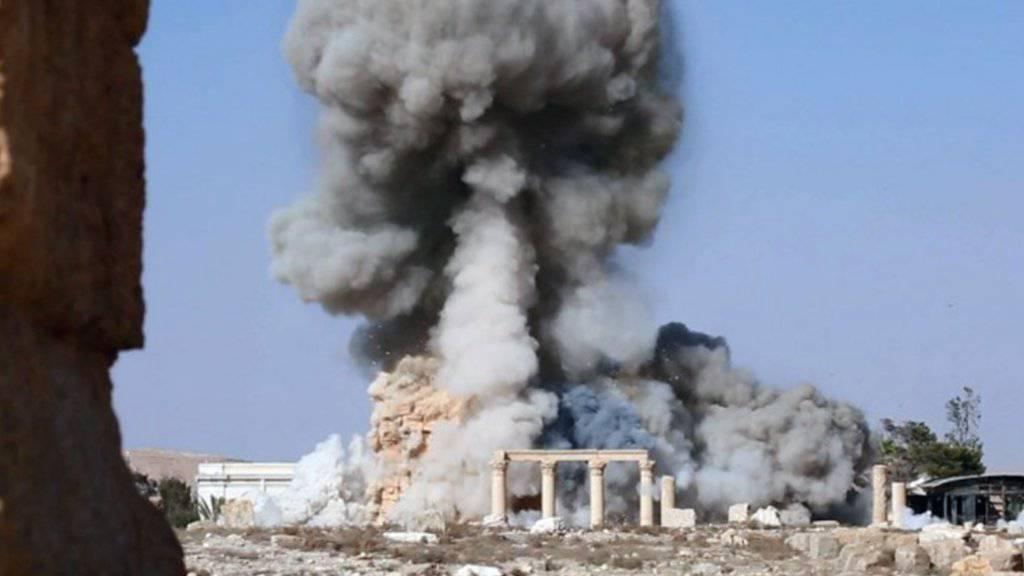 Die Detonation des des Baalshamin-Tempels. Das Bild wurde vom Islamischen Staat veröffentlicht. (Archiv)