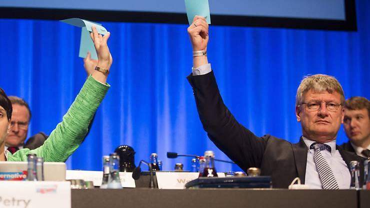 Die Teilnehmer am AfD-Parteitag kippten am Sonntag eine radikales Einwanderungsverbot aus ihrem Parteiprogramm. Im Bild die Parteichefs Frauke Petry und Jörg Meuthen.