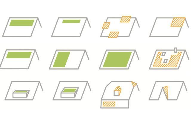 Sind Solarpanels einfach gestaltet (grün), braucht es keine Baubewilligung. Bei den Beispielen in Gelb muss ein Baugesuch eingereicht werden.Grossflächige ununterbrochene Panels sind eher die Ausnahme. Öfters seien jedoch Dächer mit Aussparungen anzutreffen, sagen Fachleute.Panels auf Dachausbauten sind erlaubt. Dreieck- und Kleinstpanels sind kaum anzutreffen.