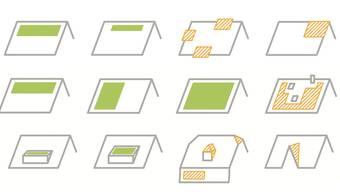 Sind Solarpanels einfach gestaltet (grün), braucht es keine Baubewilligung. Bei den Beispielen in Gelb muss ein Baugesuch eingereicht werden. Grossflächige ununterbrochene Panels sind eher die Ausnahme. Öfters seien jedoch Dächer mit Aussparungen anzutreffen, sagen Fachleute. Panels auf Dachausbauten sind erlaubt. Dreieck- und Kleinstpanels sind kaum anzutreffen.