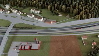 Die östliche Zufahrt zum Eppenbergtunnel. Visualisierung: SBB.